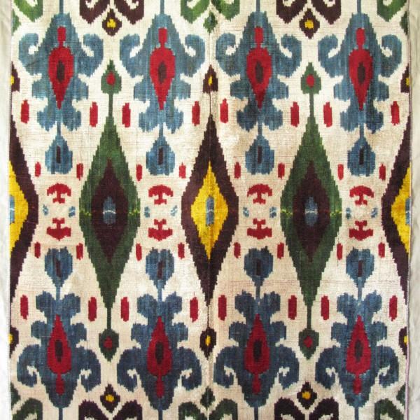 Uzbekistan - Fergana Valley silk velvet ikat panel