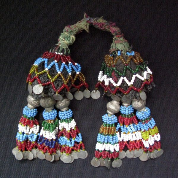 North Afghanistan tribal beaded tassels with metal hangings