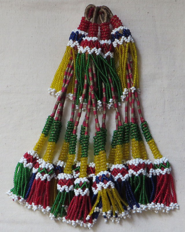North Afghanistan - Pashtun tribal glass and various beaded hair ornament