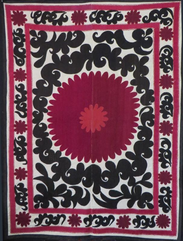 Uzbekistan- Smarkand Suzani silk embroidery on cotton fabric