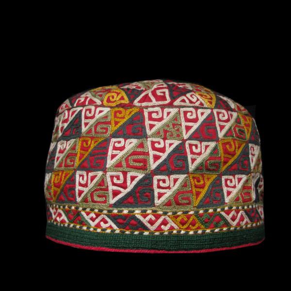 Turkmen Chodor tribal hat silk embroidery on fine cotton