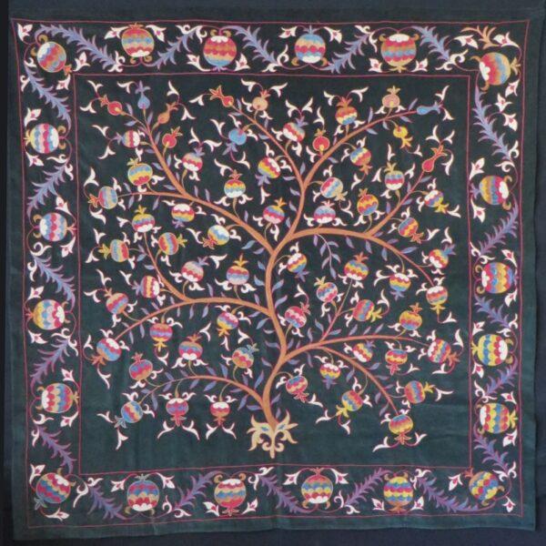 Uzbekistan-Tashkent suzani silk chain stitch embroidery on vintage velvet