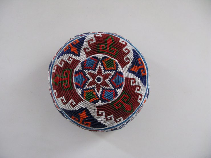 Afghan Pashtun tribal hat with traditional designs of Silk Road