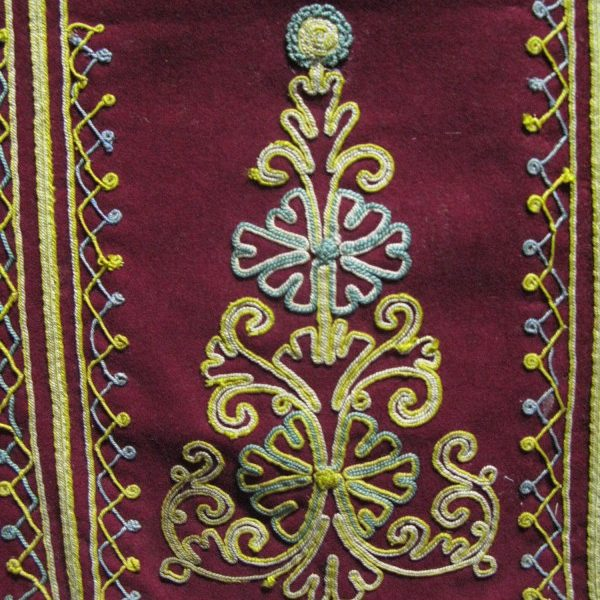 Greek embroidered antique silk Apron