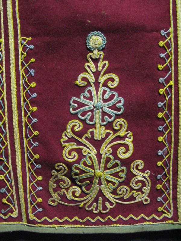 Greek embroidered antique silk Apron