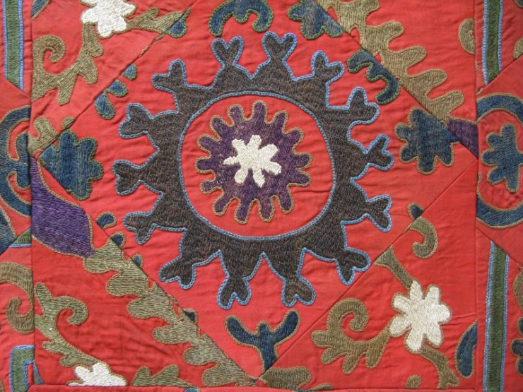 Tajikistan Handmade Pillow cover fine silk cotton couching embroidery on cotton with cotton backing