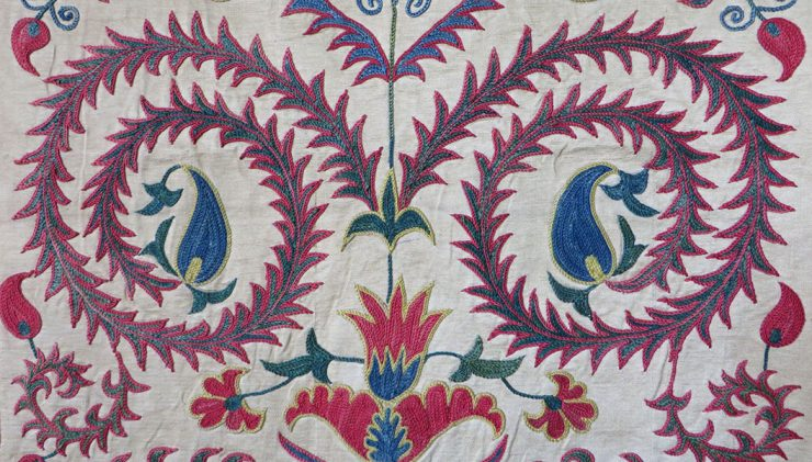 Uzbekistan, Fargan Valley, silk embroidery on silk suzani