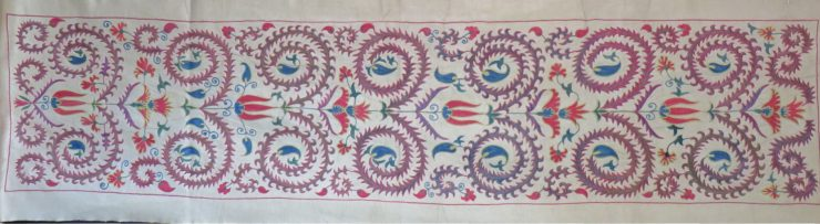Uzbekistan Fargan Valley silk embroidery on silk suzani