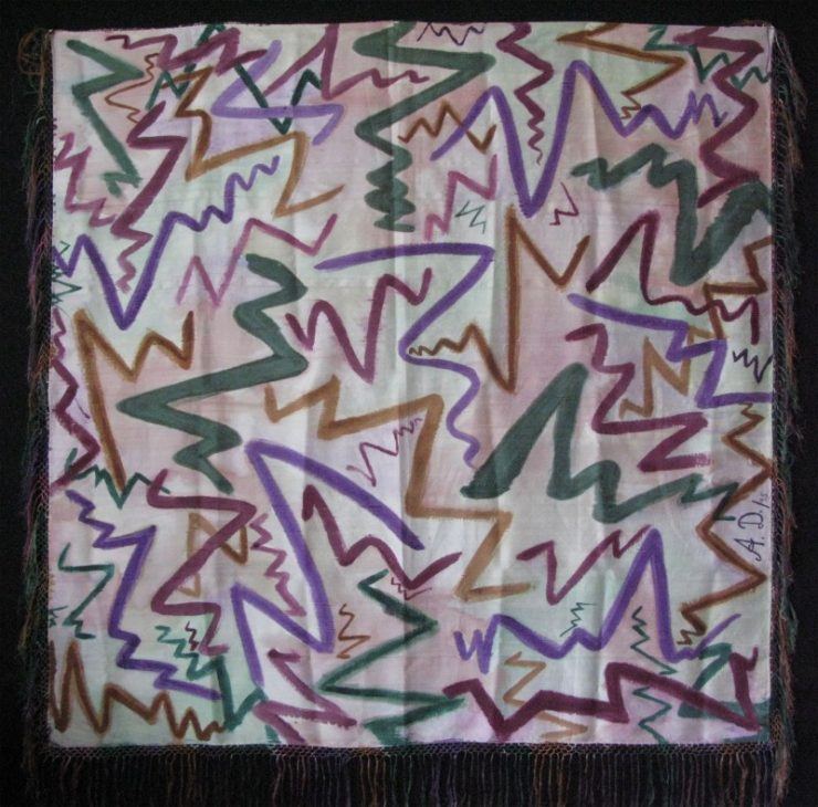 India Vintage Hand Painted Abstract Designed Silk Scarf with Silk Tassels