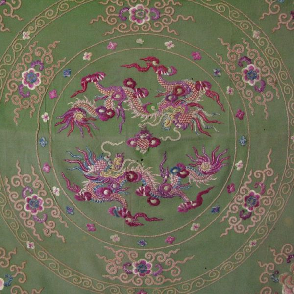 Silk embroidery with dragons from Southern China