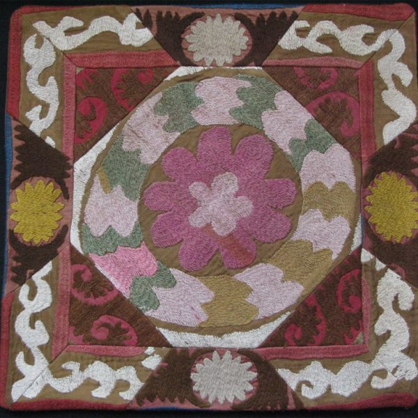 Tajikistan Handmade Pillow cover fine silk embroidery on cotton with cotton backing