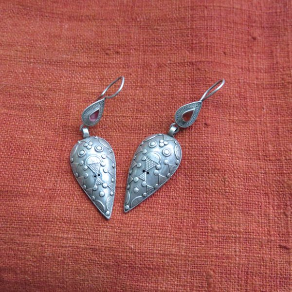 Central Asian, Kazak antique silver earrings