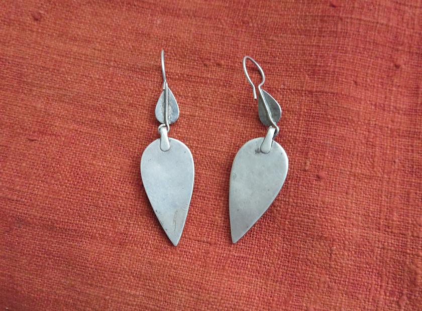 Central Asian Kazak Antique Silver Earrings