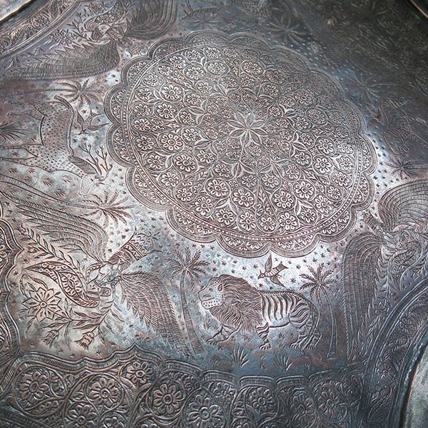 Persian Qajar copper tray