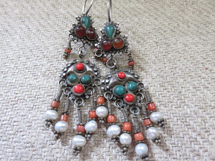 Uzbekistan - Khorezm silver tribal earrings