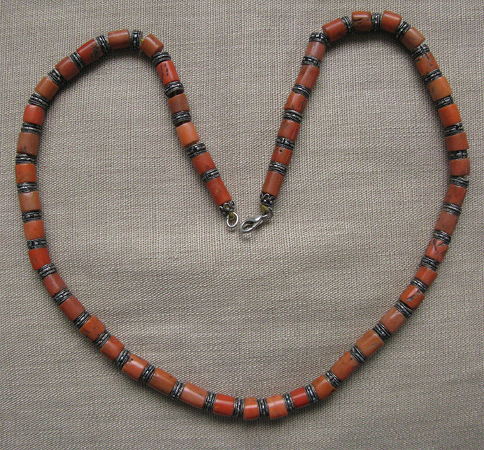 Tibet antique coral silver necklace