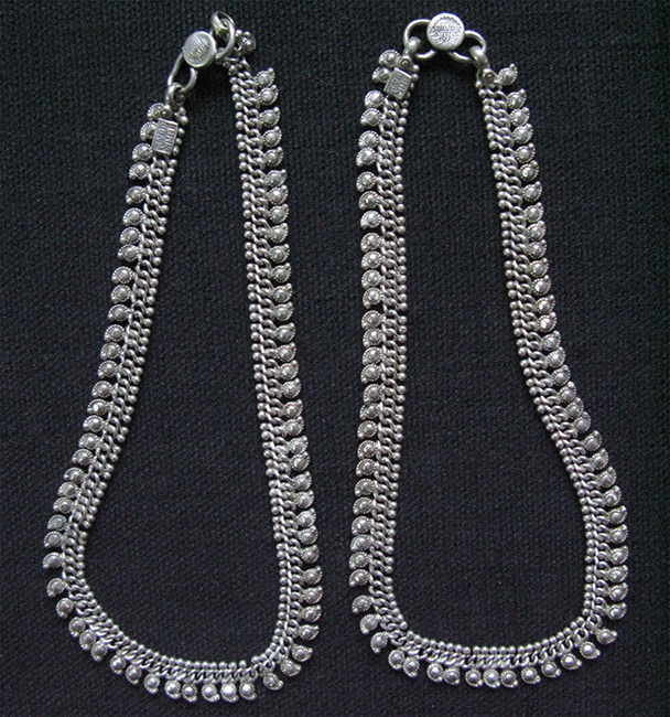 Kohistan tribal high carat silver pair of anklets