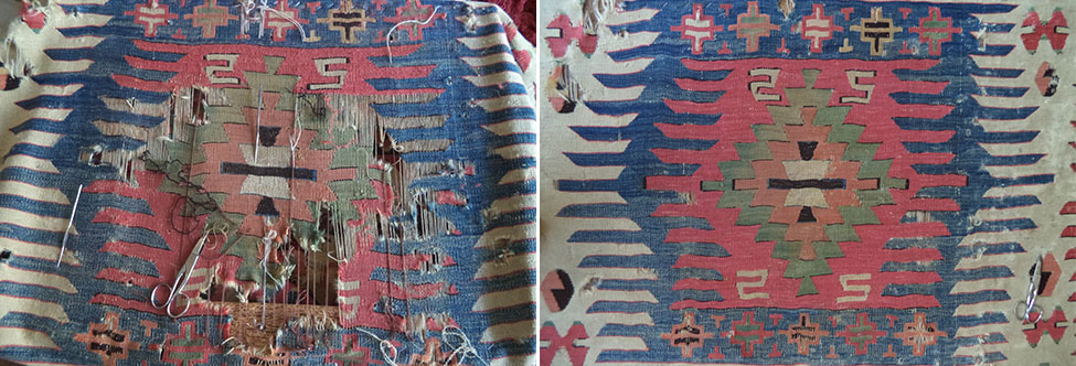 Kilim - Flat weave repairs - Antique looking restoration