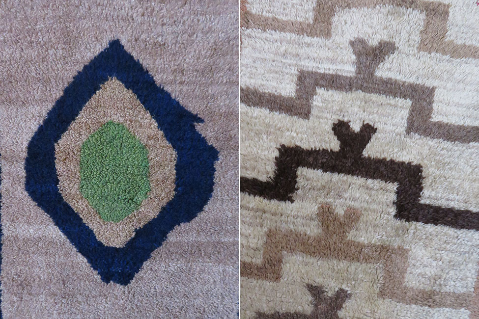 Left: Chekme – Cheki loop knotted angora wool Tulu rug – Right: Konya - Karapinar carpet knotted Coban – Shepherd TULU rug or Dokuma – woven TULU rug