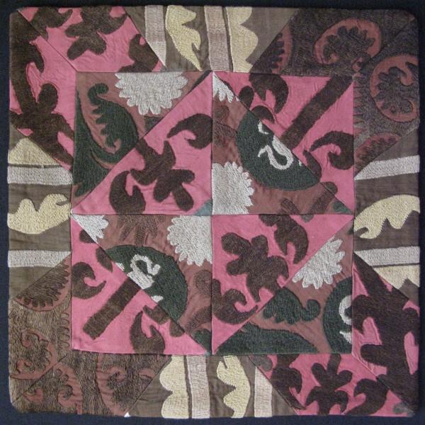 Vintage Tajikistan Tajik Handmade pair of Pillow covers fine silk couching embroidery on cotton