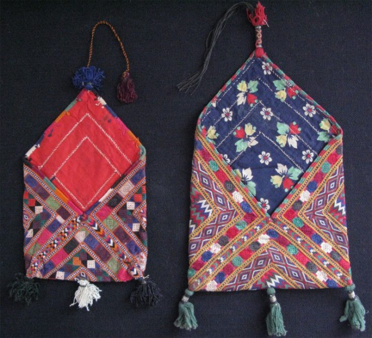 North Afghanistan - Baluch tribes Silk embroidered personal pair of envelope shape vanity bags
