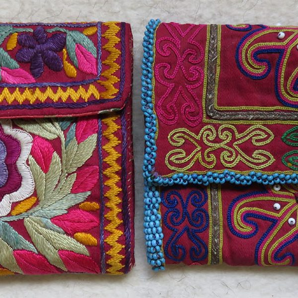 Afghanistan - Pashtun and Hazara - Bamyan - Pair of Tribal handmade folding women Wallets