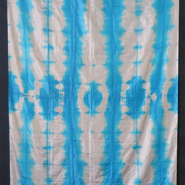 Uzbekistan Fargn Valley silk tie - dye panel with rare Turquoise color