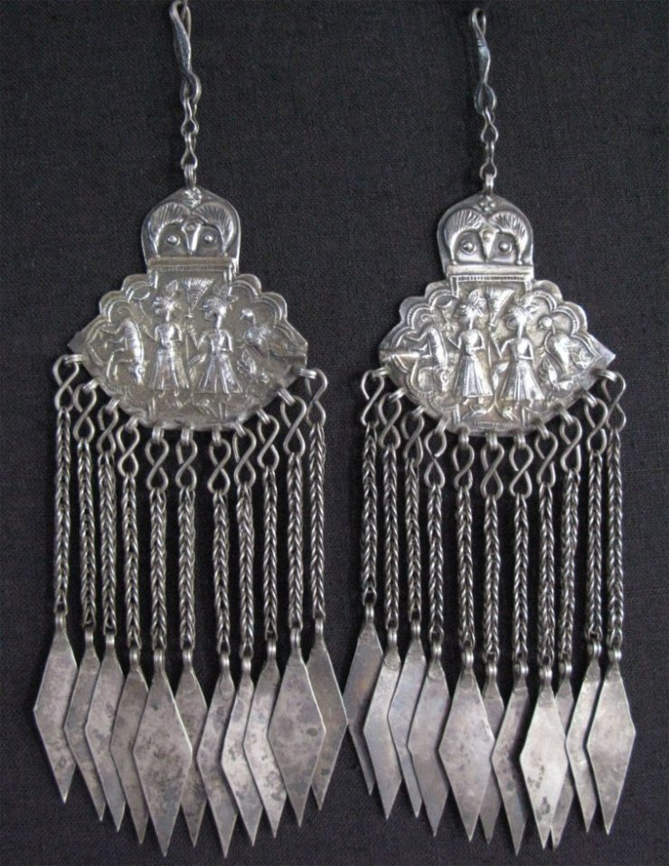Central Asian Khoistan - pair of ceremonial headwear hangings