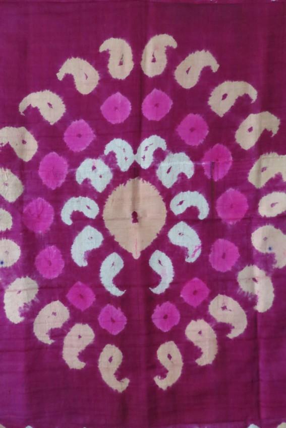 Uzbekistan - Hand loomed Silk on silk tie-dye fragment