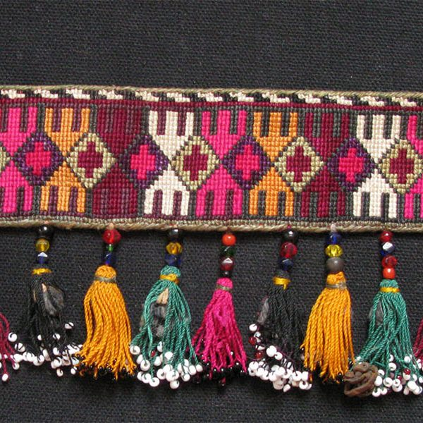 Lakai - Uzbekistan forehead band. Silk cross stitch embroidery with silk tassels and silver ornaments.