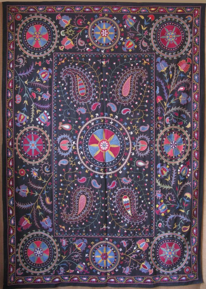 Uzbekistan Fergana Valley silk handmade ethnic wall hanging Suzani