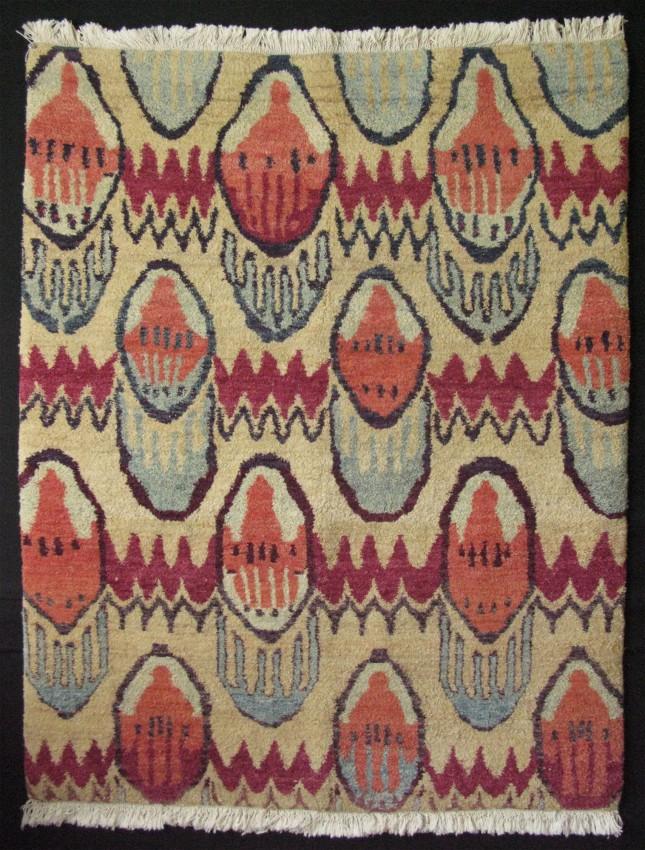 Uzbekistan Fergana Valley ikat design rug with thick pile