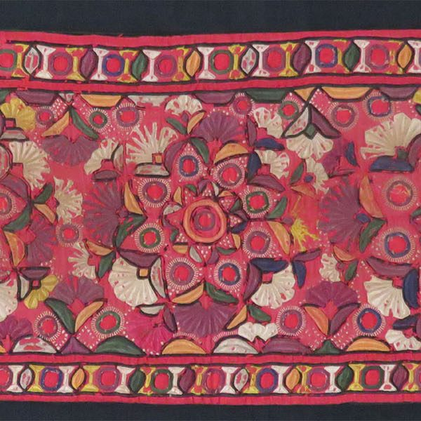 India - Gujarat - Mirror silk embroidery fragment turned into pillow case.