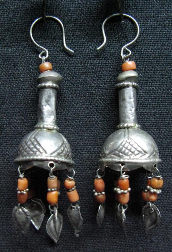 Uzbekistan and Turkmenistan Pair of silver earrings