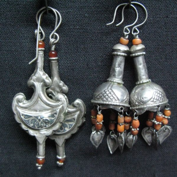 Uzbekistan and Turkmenistan Pair of silver earrings