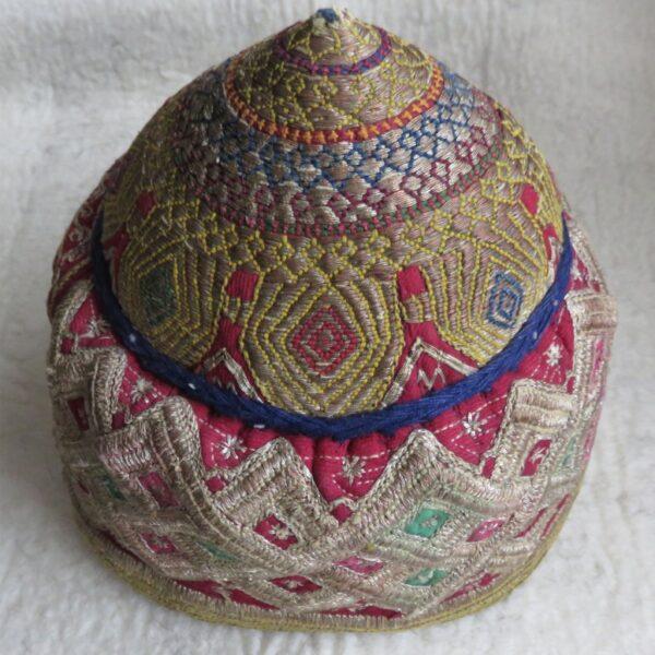 Afghanistan - Ersary Turkmen tribal helmet shape head wear