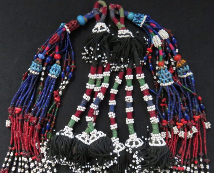 Afghanistan - Pashtun two pair tribal glass and stone beaded tassels