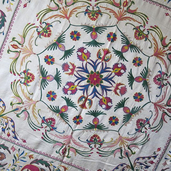 UZBEKISTAN - FARGANA VALLEY Silk embroidery Suznai table cover