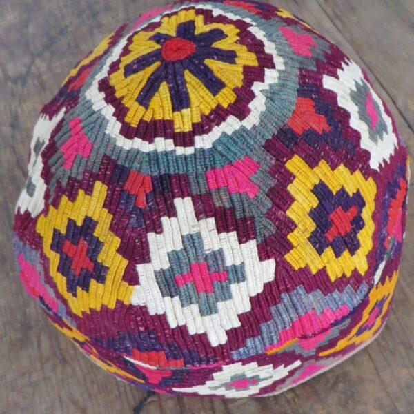 Afghanistan – Aimaq tribal hat with kilim motifs
