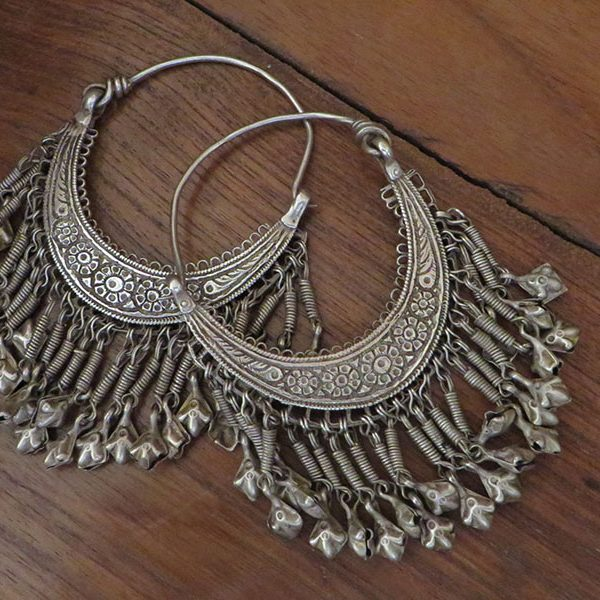 Afghan tribal silver costume earrings