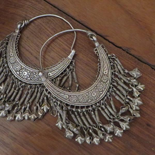 Afghan tribal silver costume earrings