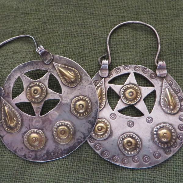 Turkmenistan silver and gold earrings