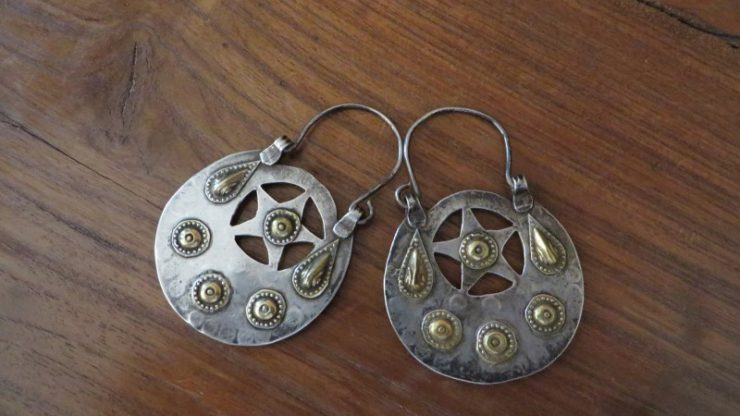 Turkmenistan silver and gold earrings