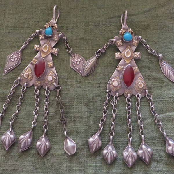Turkmen Yomud tribal costume earrings