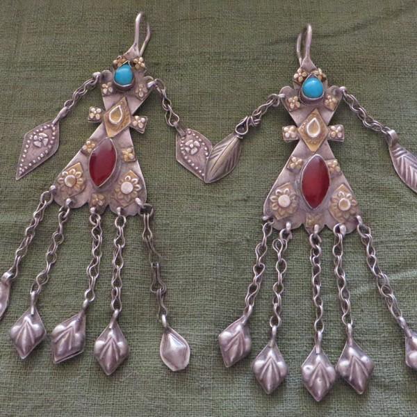 Turkmen Yomud tribal costume earrings
