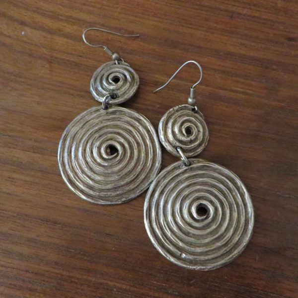 Kazakh ethnic silver earrings