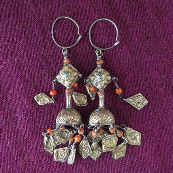 Uzbekistan Bokhara gold wash ethnic silver earrings