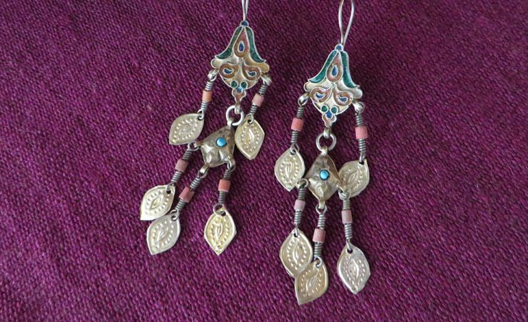 Uzbekistan tribal silver enamel earrings
