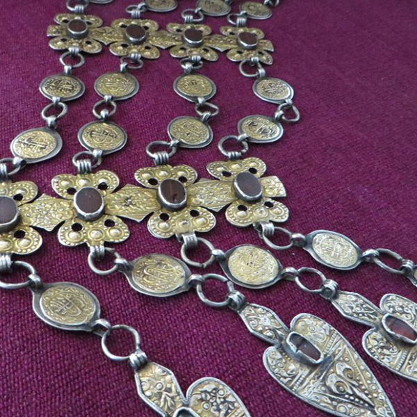 Turkmenistan ceremonial silver necklace