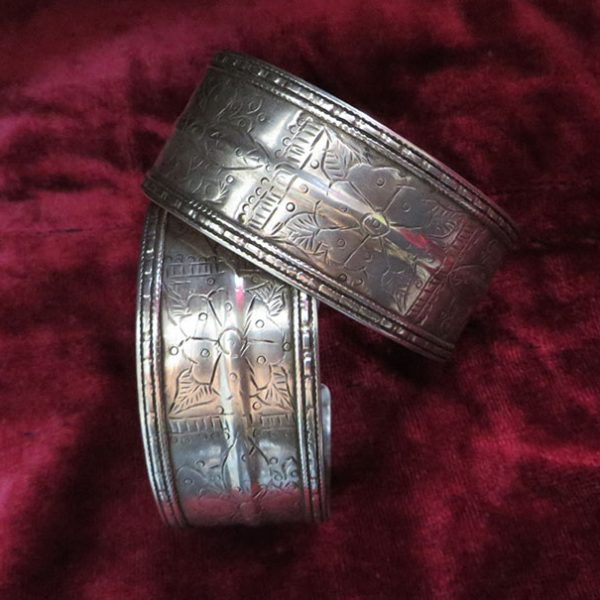 Turkmen ethnic silver pair of bracelets